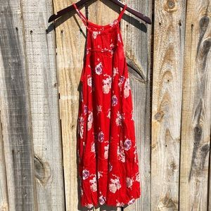 Lucky Brand Halter Neck Floral Dress Red Size S